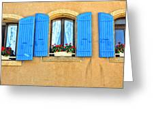 Blue Shutters In Provence Greeting Card