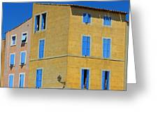 Blue Shutters Martigues France Greeting Card
