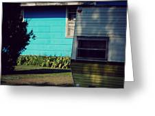 Blue Siding And Camper Greeting Card