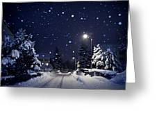 Blue Silent Night Greeting Card