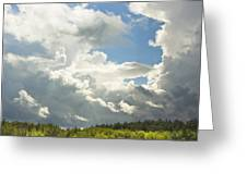 Blue Sky And Building Storm Clouds Fiane Art Print Greeting Card