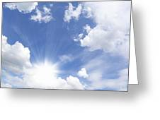 Blue Sky And Sun Ray Greeting Card