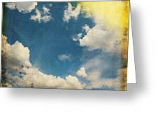 Blue Sky On Old Grunge Paper Greeting Card
