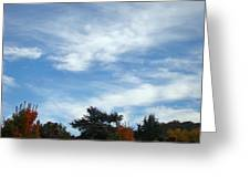 Blue Sky White Clouds Autumn Prints Greeting Card