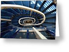 Blue Spiral Stairsway Greeting Card