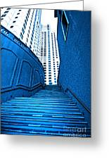 Blue Stairs Greeting Card