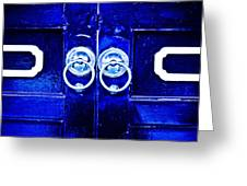 Blue Temple Doors Greeting Card