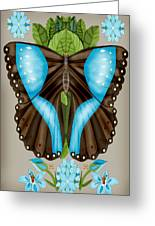 Blue Tiled Butterfly Greeting Card