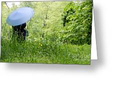 Blue Umbrella Greeting Card