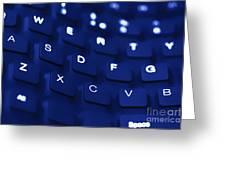 Blue Warped Keyboard Greeting Card