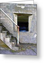 Blue Window Bunker Greeting Card