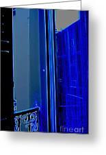 Blue Window In Paris Greeting Card