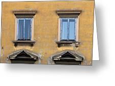 Blue Windows On A Yellow Wall In Milan Greeting Card