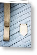 Blue Wooden Door With A Plate Greeting Card