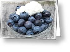 Blueberries And Cottage Cheese Greeting Card