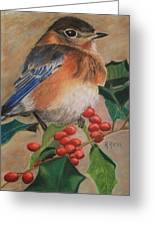 Bluebird And Berries Greeting Card