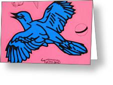 Bluebird On Pink Greeting Card