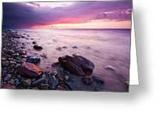 Bluffs Beach Sunset 2 Greeting Card