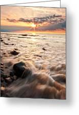 Bluffs Beach Sunset 3 Greeting Card
