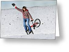 Bmx Flatland In The Snow - Monika Hinz Greeting Card