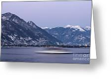 Boat And Alps Greeting Card