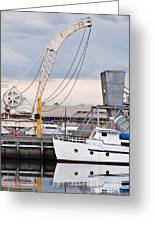 Boat And Old Crane Reflections Greeting Card