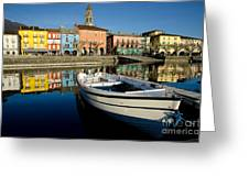 Boat And Village Greeting Card