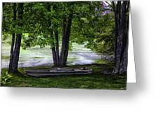 Boat By The Pond 2 Greeting Card