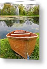Boat By The Pond Greeting Card