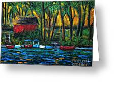 Boat Dock In The Evening Greeting Card