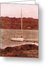 Boat Docked On The River Greeting Card