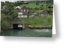 Boat House On A Mountain Slope On The Shore Of Lake Lucerne In Switzerland Greeting Card