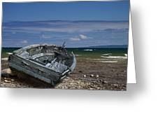 Boat Lying Shipwrecked On A Lake Michigan Shore Greeting Card