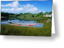 Boat Moored At A Harbor, Ellens Rock Greeting Card