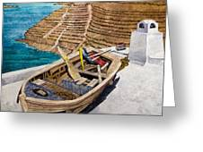 Boat On A Roof Greeting Card