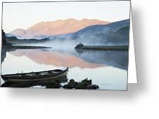 Boat On A Tranquil Lake Killarney Greeting Card