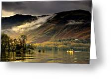 Boat On Lake Derwent, Cumbria, England Greeting Card by John Short