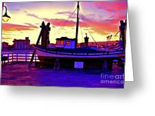 Boat On Santa Cruz Wharf Greeting Card by Garnett  Jaeger