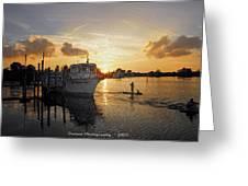 Boat Plastic Sunset  Greeting Card