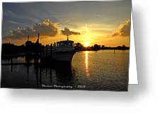 Boat Sunset Greeting Card