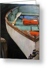 Boat With Red Greeting Card by Jose Romero