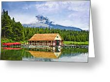 Boathouse On Mountain Lake Greeting Card