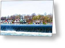 Boathouse Row From Fairmount Dam Greeting Card