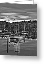 Boating Reflections Mono Greeting Card
