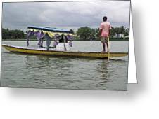 Boatman Taking A Couple Out On A Shikhara Greeting Card