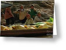 Boatmen In Laos Greeting Card