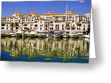 Boats And Houses On Waterfront Greeting Card