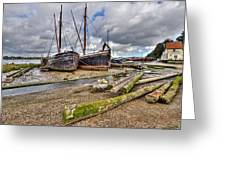 Boats And Logs At Pin Mill Greeting Card