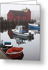 Boats At Rockport Harbor Greeting Card