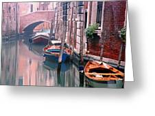 Boats Bridge And Reflections In A Venice Canal Greeting Card